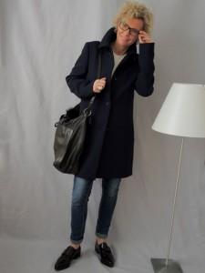 Mantel Brille Tasche blau