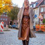 women2style, Lederkleid, cognac, braun, Wollmantel